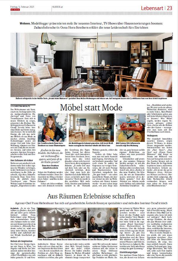 KURIER Lebensart: Möbel statt Mode