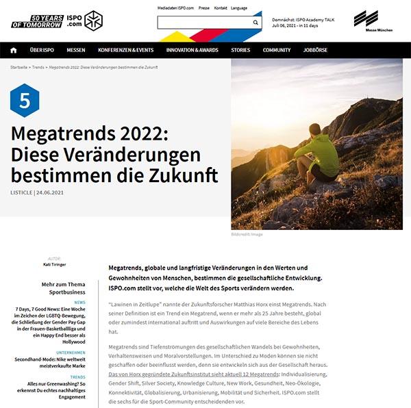 ISPO.com: Megatrends 2022
